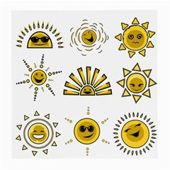 Sun Expression Smile Face Yellow Medium Glasses Cloth (2 Side) by Alisyart