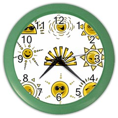 Sun Expression Smile Face Yellow Color Wall Clocks by Alisyart