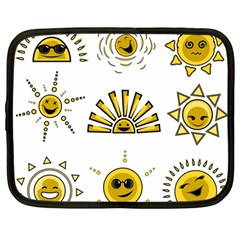 Sun Expression Smile Face Yellow Netbook Case (large) by Alisyart