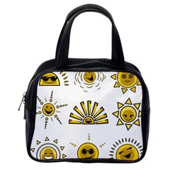 Sun Expression Smile Face Yellow Classic Handbags (one Side)