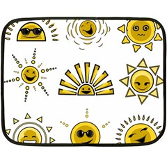 Sun Expression Smile Face Yellow Fleece Blanket (mini) by Alisyart
