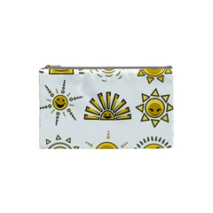 Sun Expression Smile Face Yellow Cosmetic Bag (small)  by Alisyart