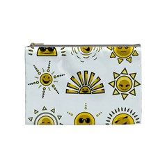 Sun Expression Smile Face Yellow Cosmetic Bag (medium)  by Alisyart