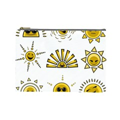 Sun Expression Smile Face Yellow Cosmetic Bag (large)  by Alisyart