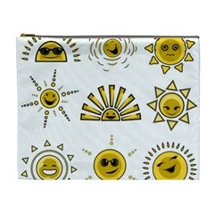 Sun Expression Smile Face Yellow Cosmetic Bag (xl) by Alisyart