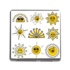 Sun Expression Smile Face Yellow Memory Card Reader (square) by Alisyart