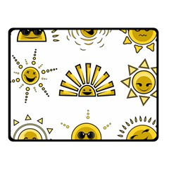Sun Expression Smile Face Yellow Fleece Blanket (small) by Alisyart