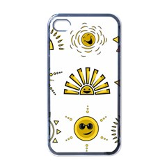 Sun Expression Smile Face Yellow Apple Iphone 4 Case (black) by Alisyart