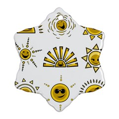 Sun Expression Smile Face Yellow Snowflake Ornament (two Sides)
