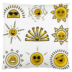Sun Expression Smile Face Yellow Large Cushion Case (one Side)