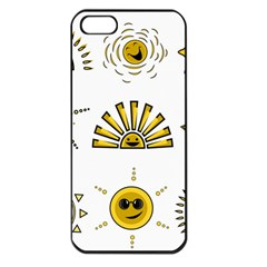 Sun Expression Smile Face Yellow Apple Iphone 5 Seamless Case (black)