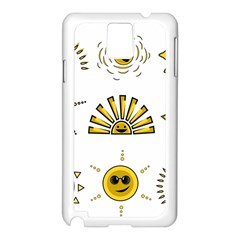 Sun Expression Smile Face Yellow Samsung Galaxy Note 3 N9005 Case (white) by Alisyart