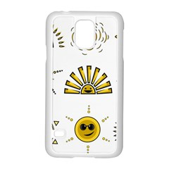 Sun Expression Smile Face Yellow Samsung Galaxy S5 Case (white)