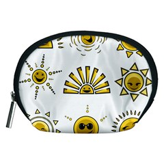 Sun Expression Smile Face Yellow Accessory Pouches (medium)