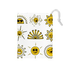Sun Expression Smile Face Yellow Drawstring Pouches (medium)  by Alisyart