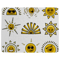 Sun Expression Smile Face Yellow Jigsaw Puzzle Photo Stand (rectangular) by Alisyart