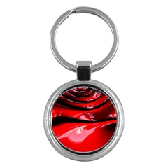 Red Fractal Mathematics Abstract Key Chains (round)  by Amaryn4rt
