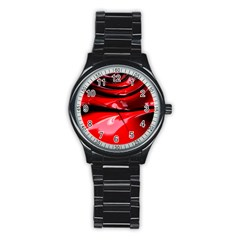Red Fractal Mathematics Abstract Stainless Steel Round Watch