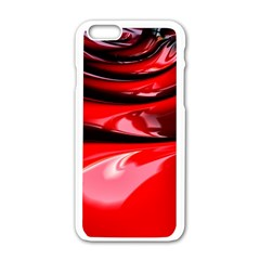 Red Fractal Mathematics Abstract Apple Iphone 6/6s White Enamel Case by Amaryn4rt
