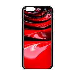 Red Fractal Mathematics Abstract Apple Iphone 6/6s Black Enamel Case by Amaryn4rt