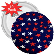 Star Red White Blue Sky Space 3  Buttons (10 Pack)  by Alisyart