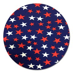 Star Red White Blue Sky Space Magnet 5  (round) by Alisyart