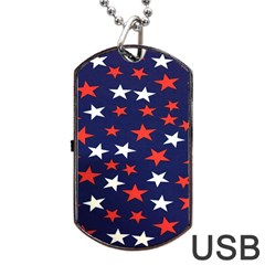 Star Red White Blue Sky Space Dog Tag Usb Flash (two Sides) by Alisyart