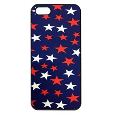 Star Red White Blue Sky Space Apple Iphone 5 Seamless Case (black)