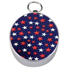 Star Red White Blue Sky Space Silver Compasses