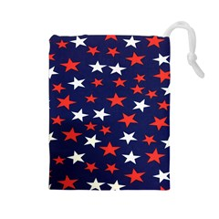 Star Red White Blue Sky Space Drawstring Pouches (large)  by Alisyart
