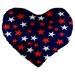 Star Red White Blue Sky Space Large 19  Premium Flano Heart Shape Cushions