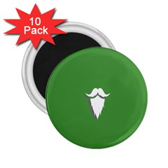 The Dude Beard White Green 2 25  Magnets (10 Pack)