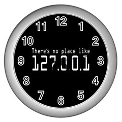 There s No Place Like Number Sign Wall Clocks (silver)  by Alisyart