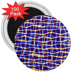 Surface Pattern Net Chevron Brown Blue Plaid 3  Magnets (100 Pack) by Alisyart