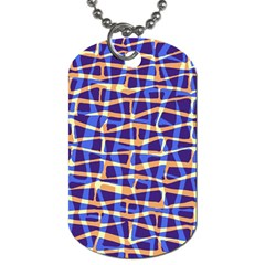 Surface Pattern Net Chevron Brown Blue Plaid Dog Tag (one Side)