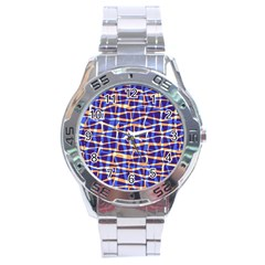Surface Pattern Net Chevron Brown Blue Plaid Stainless Steel Analogue Watch by Alisyart