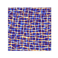 Surface Pattern Net Chevron Brown Blue Plaid Small Satin Scarf (square)