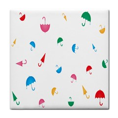 Umbrella Green Orange Red Blue Pink Water Rain Tile Coasters