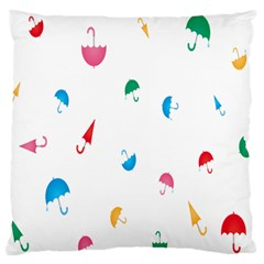Umbrella Green Orange Red Blue Pink Water Rain Large Flano Cushion Case (two Sides) by Alisyart