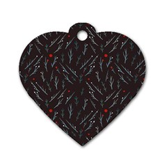 Tree Twigs Spot Blue Grey Dog Tag Heart (two Sides) by Alisyart
