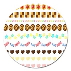 Sunflower Plaid Candy Star Cocolate Love Heart Magnet 5  (round) by Alisyart