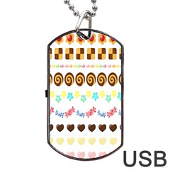 Sunflower Plaid Candy Star Cocolate Love Heart Dog Tag Usb Flash (one Side) by Alisyart