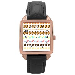 Sunflower Plaid Candy Star Cocolate Love Heart Rose Gold Leather Watch  by Alisyart
