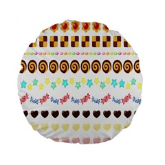 Sunflower Plaid Candy Star Cocolate Love Heart Standard 15  Premium Flano Round Cushions