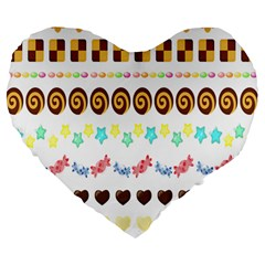 Sunflower Plaid Candy Star Cocolate Love Heart Large 19  Premium Flano Heart Shape Cushions