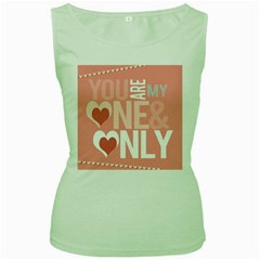 Valentines Day One Only Pink Heart Women s Green Tank Top by Alisyart