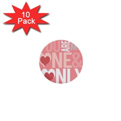Valentines Day One Only Pink Heart 1  Mini Buttons (10 Pack)  by Alisyart