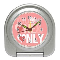 Valentines Day One Only Pink Heart Travel Alarm Clocks by Alisyart