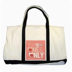 Valentines Day One Only Pink Heart Two Tone Tote Bag