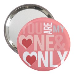 Valentines Day One Only Pink Heart 3  Handbag Mirrors